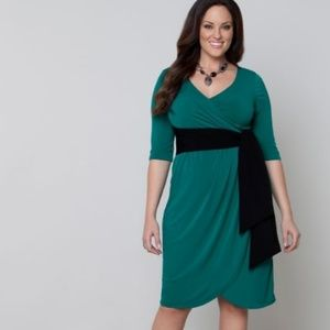 Lane Bryant Kiyonna Harlow Faux Wrap Dress Green